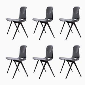Vintage S-22 Pagholz Stühle mit Kompass-Stuhlbeinen von Galvanitas, 6er Set