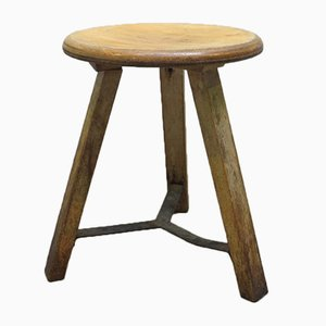 Vintage Industrial Wooden Stool