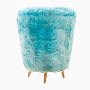 Mid-Century Plush Blue Footstool with Storage