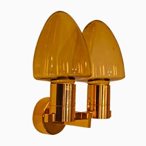 Vintage 2-Armed Brass and Glass Wall Light by Hans-Agne Jakobsson