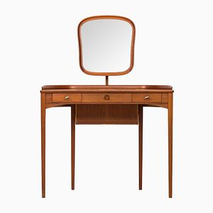 Scandinavian Birgitta Brown Teak Vanity by Carl Malmsten for Bodafors, 1950s