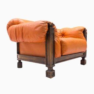 Großer Sessel aus Leder & Holz, 1960er