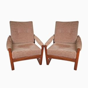 Afromosia & Teak Virginia Armchairs by Guy Rogers, 1960s, Set of 2