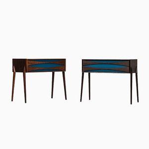 Tables d'Appoint Mid-Century en Palissandre e Glas & Trä Hovmantorp, 1960s, Set de 2