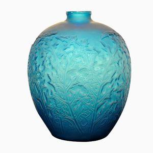 Blaue Art Déco Acanthes Vase von René Lalique, 1921