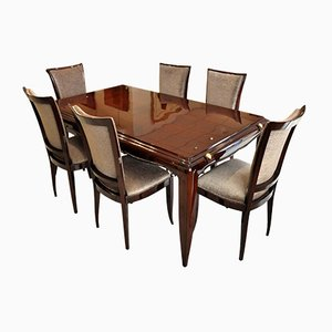 Dining Table Set By Jean Desnos, 1940s, Set Of 7 · Art Deco Marquetry Dining  Table