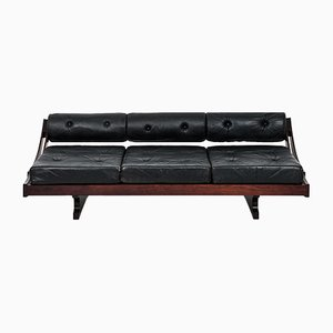 Model GS 195 Black Leather Sofa by Gianni Songia for Sormani, 1960s