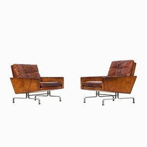 PK-31 Brown Leather Easy Chairs by Poul Kjærholm for E. Kold Christensen, 1950s, Set of 2