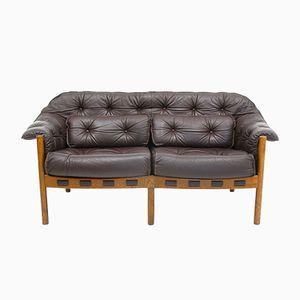 Vintage 2-Sitzer Ledersofa von Arne Norell für Coja