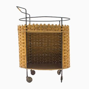 Scandinavian Oval Trolley with Woven Rattan, 1960s