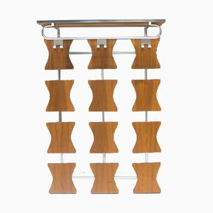 Rosewood Wall Coat Rack with Chromed Hooks, 1970s