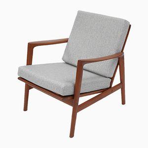 Vintage Light Grey Polish 300-139 Armchair, 1970s