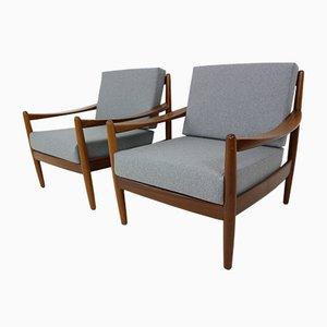 Danish Teak Bentwood Armchairs, 1960s, Set of 2