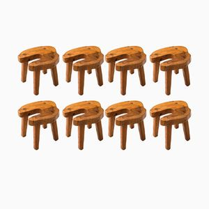 Swedish Brutalist Stools, 1960s, Set of 8