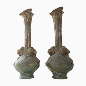 Vasi antichi Art Nouveau in bronzo di Melle Sibeud, set di 2