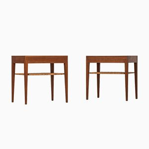 Bedside Tables by Severin Hansen for Haslev, 1950s, Set of 2
