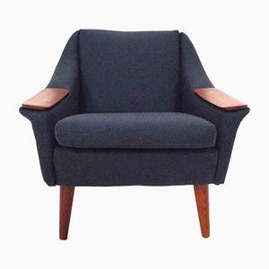 Norwegian Dark Blue Wool & Teak Armchair, 1960s