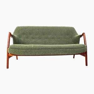 Danish Rio Green Wool & Teak 3-Seater Sofa from Dokka Mobler, 1960s