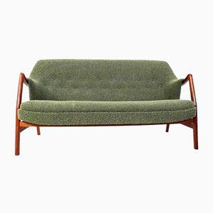 Grünes Dänisches 3-Sitzer Sofa aus Wolle & Teak von Dokka Mobler, 1960er