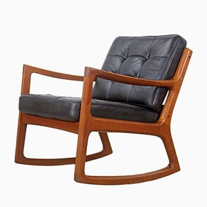 Vintage Teak Rocking Chair with Leather by Ole Wanscher for France & Søn