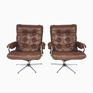 Vintage Leather Swivel Chair, Set of 2