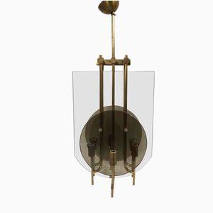 Vintage Italian Glass Chandelier by Fontana Arte, 1950s
