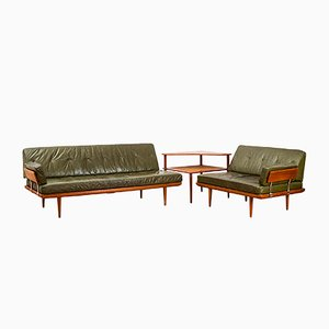 Danish Mid-Century Minerva Leather Living Room Set by Peter Hvidt & Orla Mølgaard-Nielsen for France & Søn, 1950s