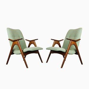 Grüne Vintage Armlehnstühle aus Teak von Louis van Teeffelen für Webe, 1960er, 2er Set