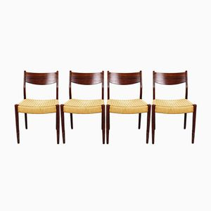 Dutch Dining Chairs in Rosewood & Papercord from Pastoe, 1960s, Set of 4