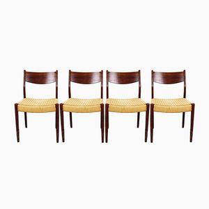Niederländische Esszimmerstühle aus Palisander & Papierkordel von Pastoe, 1960er, 4er Set