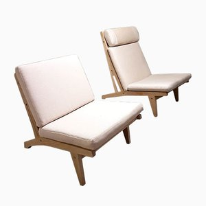 Vintage GE375 & GE370 Lounge Chairs by Hans Wegner for Getama, Set of 2