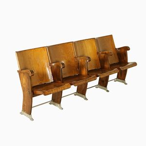 Italian Beech & Poplar Row of Cinema Chairs with Folding Seats, 1960s