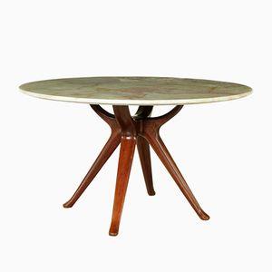 Italian Mahogany & Onyx Table by Osvaldo Borsani, 1950s