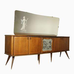 Italian Rosewood Veneered Sideboard with Mirror & Swing Doors, 1950s