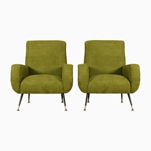 Mid-Century Italian Armchairs with Fabric Upholstery, Set of 2