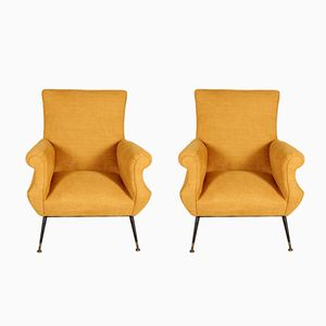 Mid-Century Italian Fabric Lounge Chairs, Set of 2