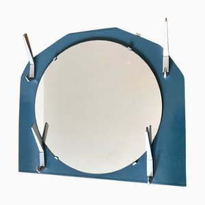 Vintage Round Hallway Mirror with Coat Hooks