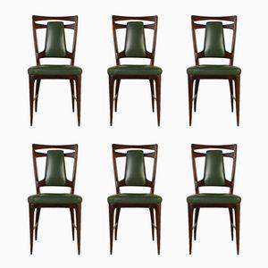 Italienische Stühle aus Gebeizter Buche, 1950er, 6er Set