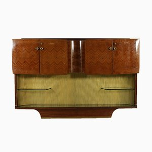 Italian Rosewood Veneered Cupboard with Bar Compartment, 1950s
