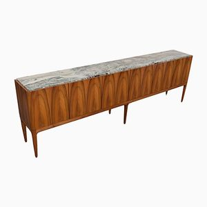 Walnut & Marble Credenza by Jos de Mey for Van den Berghe Pauvers, 1969