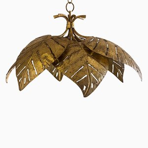 French Mid-Century Gilded Palm Leaf Chandelier