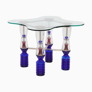 Tavolo da gioco vintage in cristallo di Van Praet & Val-Saint-Lambert