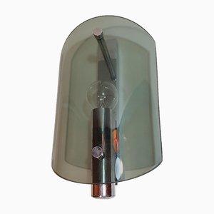 Applique in metallo cormato e vetro fumé, anni '70, set di 2