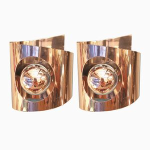 Chromed Metal Wall Lamps, 1970s, Set of 2