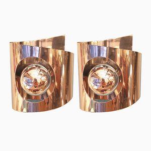 Wandlampen aus Verchromtem Metall, 1970er, 2er Set