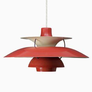 Lampe à Suspension PH5 Rouge par Poul Henningsen pour Louis Poulsen, 1960s