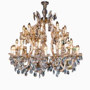 Großer Italienischer Vintage Maria Theresa Kristallglas Kronleuchter
