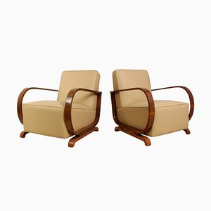 Art Deco Armchairs in Walnut and Leather, 1930s, Set of 2