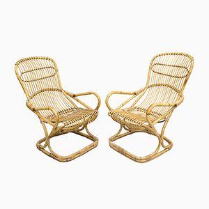 Sessel aus Korbgeflecht, 1950er, 2er Set