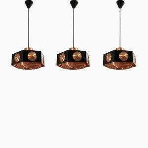 Lampade da soffitto Mid-Century di TR & Co, anni '60, set di 3